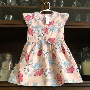 Baby Gap Front Tie Dress Floral Peach Pink 5T NWT!